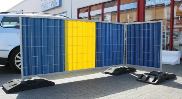 Stadshekken geel-blauw-geel werfhekken