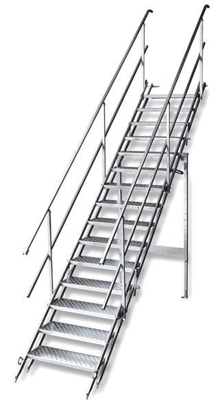 Escalier de chantier Muba 15 pas – main courante et support supplémentaire incl